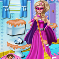 Super Barbie Bathroom Clean Up
